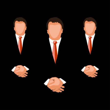 illustration of businessmen in group at dark background