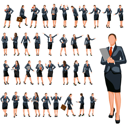 woman at the phone: set of businesswoman in different poses in color Illustration