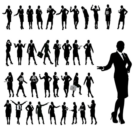 set of silhouette of businesswoman in different poses