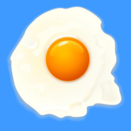 cooked: illustration of cooked egg on blue background Illustration