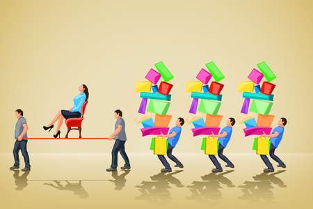 set of womans shopping with carrying men Vector