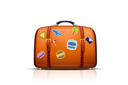 illustration of case with stickers on white background with light reflection