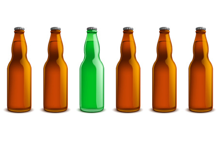 amber: line of beer bottles brown and green