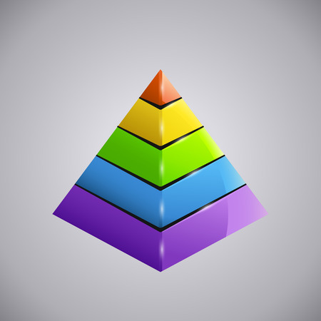 illustration of shiny business colored diagram pyramid Illustration
