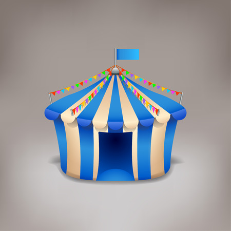 cirque: illustration of blue carnival marquee on grey background Illustration