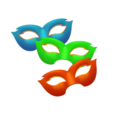 decoration decorative disguise: illustration of three different color masks on white Illustration