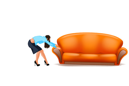 woman trying to drag new couch on white background Ilustração