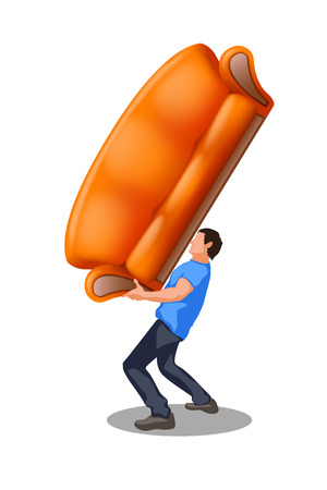 illustration of man carrying a couch on white Vector