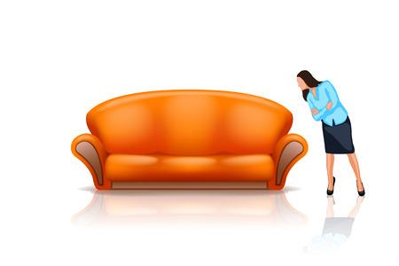 女性の白の新しいオレンジ色のソファを見て