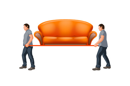 men carrying new orange couch on white background
