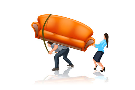man and woman carrying an orange sofa on white background Vector