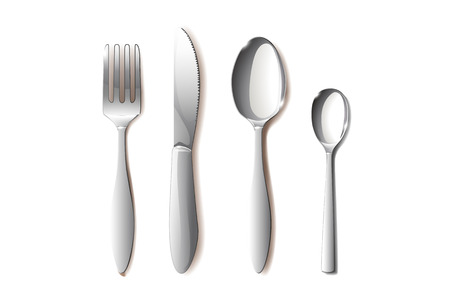 knife fork: set of different objects such as spoon knife fork Illustration