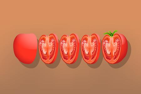 sliced: ilustraci�n de tomate en rodajas sobre fondo marr�n
