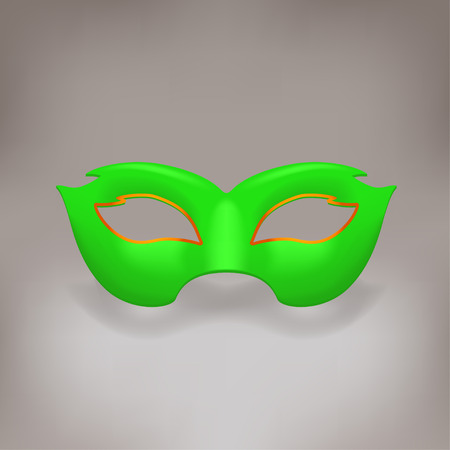 decoration decorative disguise: illustration of carnival mask green color on grey background
