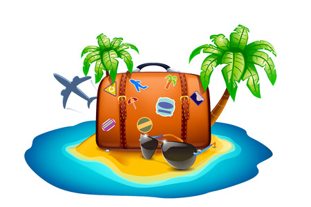 illustration of rest on island with suglasses, suitcase, palms, plane and sea Ilustração