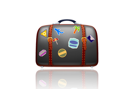 illustration of old black suitcase with stickers on white with reflection isolated Vector