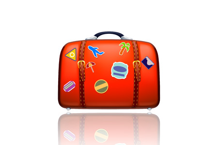 illustraion of old red suitcase on white background isolated Vector