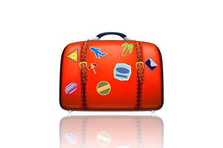 illustraion: illustraion of old red suitcase on white background isolated