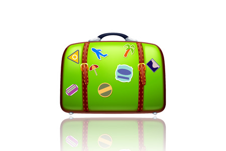 illustration of old green suitcase with stickers on white with reflection Vector