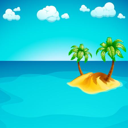 illustration of single sand island in the sea with clouds and palms Illusztráció