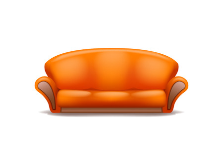 seater: illustration of orange isolated couch on white background