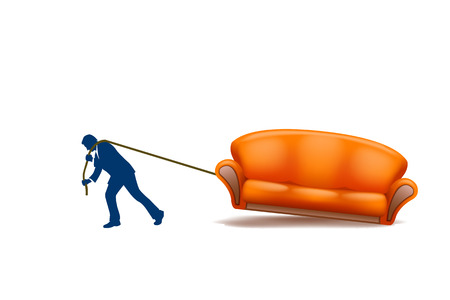 home moving: man dragging new couch on white background Illustration