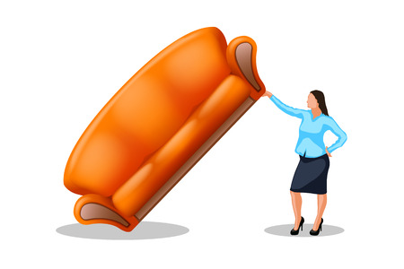 one hand: woman holding new couch by one hand on white