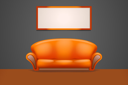 orange couch stand at wall with frame