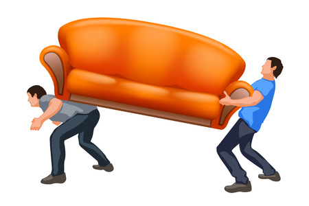 men are carrying orange couch on white background Vector