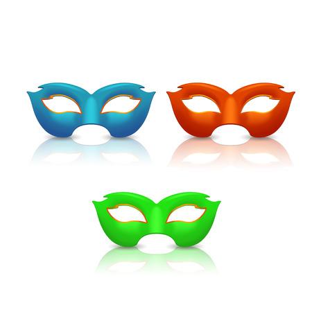 白い背景の上の 3 つの異なる色マスクのイラスト  イラスト・ベクター素材