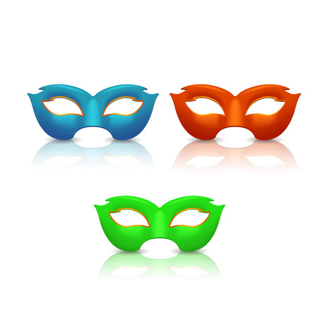 illustration of three different color masks on white background