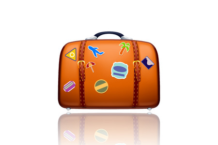 old suitcase: illustration of orange old suitcase  with stickers on white background