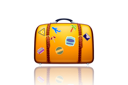 illustration of old yellow suitcase with stickers and reflection on white background Vector