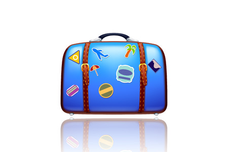 illustration of old blue suitcase with stickers on white background with reflection Vector