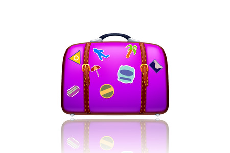 illustration of old violet suitcase with stickers on white background with reflection Vector