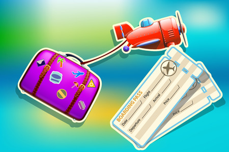 violet red: illustration of red plane and violet suitcase in flight on background with tickets Illustration