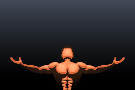 hands behind back: colored athlete in the darkness with falling light Illustration