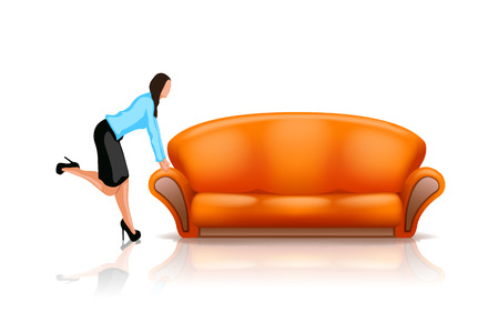 new orange couch and woman near it on white Vector