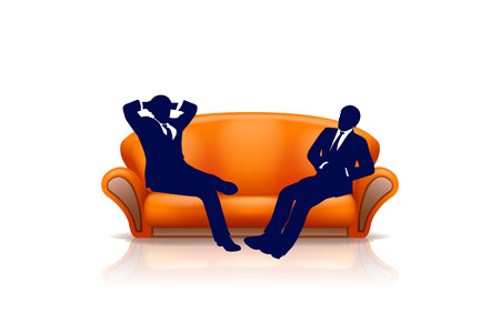 two men sitting on new orange couch on white background Vector