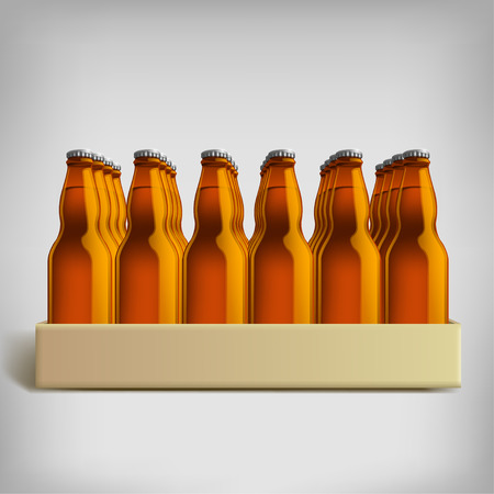 pack ice: illustration of pack of brown beer bottles