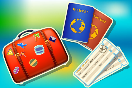 passport background: illustration of preparing to travel. suitcase passport and tickets on colorful background