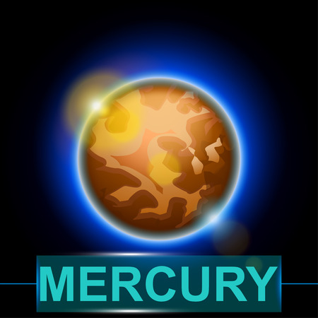 cosmo: illustration of planet mercury on dark background with shine