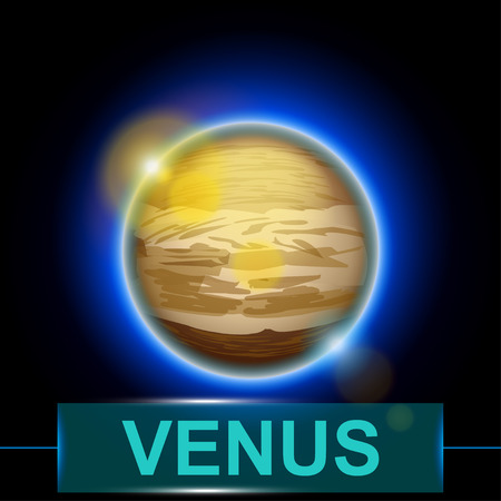 illustration of planet Venus on dark background with shine