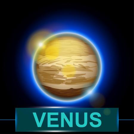 illustration of planet Venus on dark background with shine