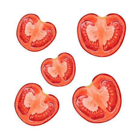 few: illustration of few slice of tomatoes on white background