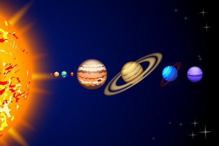 neptune: Illustration of solar system line of planets from sun to neptune