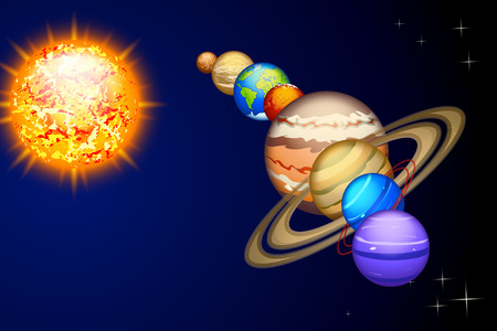 illustration of solar system line from sun to neptune on dark background