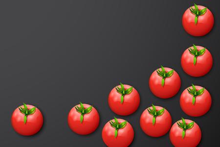 few: illustration of few tomatoes on dark grey background Illustration