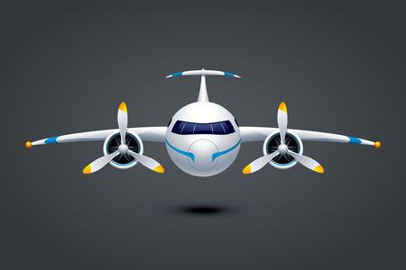 暗い背景で 2 つのプロペラ エンジンを搭載した飛行機の illustation