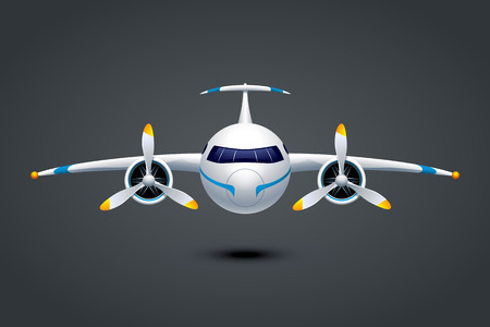 illustation of plane with two propeller engine on dark background